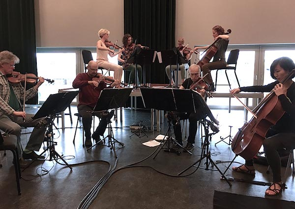 Kronos Quartet and Ragazze Quartet in rehearsal (June 2016, Amsterdam)